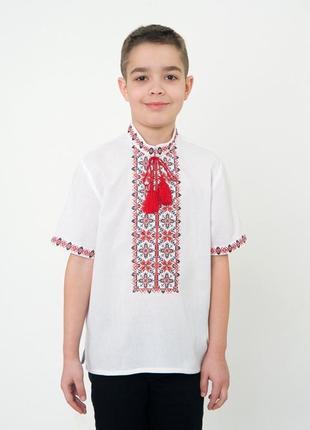 Вишиванка з коротким рукавом для хлопчика на 100% бавовні, арт. 0108к.р.