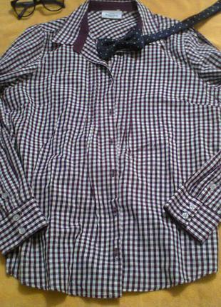 Рубашка бордовая в клетку распродажа