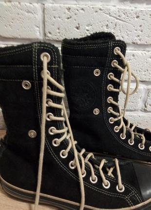 Converse тёплые кожаные кеды хайтопы ботинки