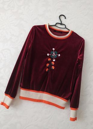 Роскошный брендовый бархатный винный свитер с вышивкой