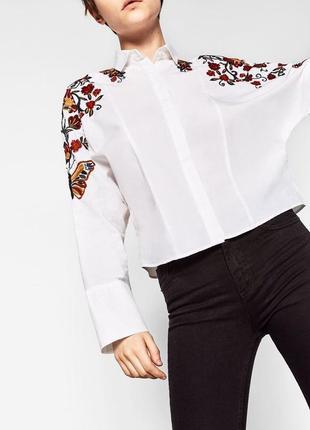 Рубашка с вышивкой zara (р.xs)