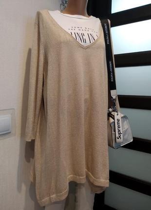 Стильная брэндовая блузка рубашка кофточка джемпер с люрексом