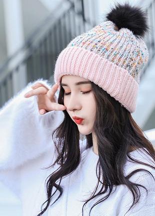 7 красивая вязаная шапка с помпоном