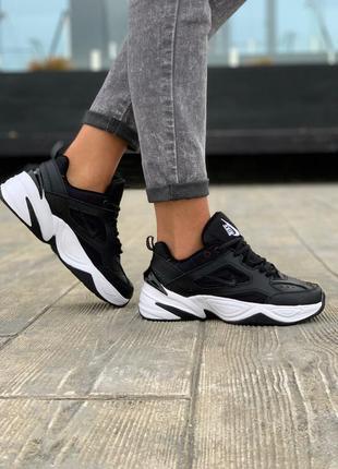 Nike m2k tekno black/white шикарные женские кроссовки найк текно черные с белым
