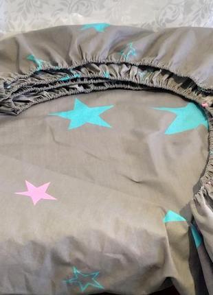 Двуспальная простынь на резинке из бязи gold lux - звезды, все размеры, быстрая отправка