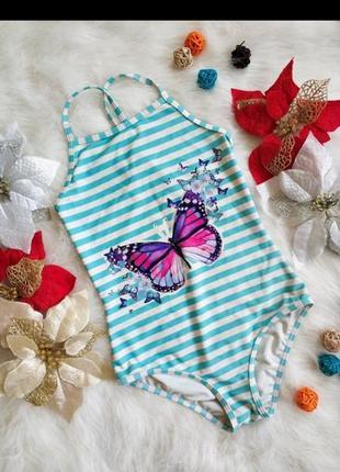 Стильний купальник в полоску з яскравим принтом для дівчинки 10-11 років