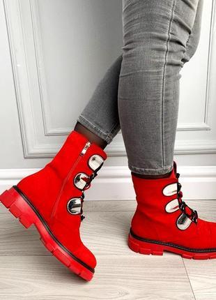 Новые шикарные женские демисезонные красные  ботинки