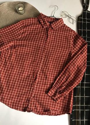 Рыжая рубашка в клетку boohoo