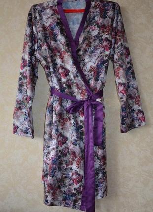 Шелковый атласный халат/пижама /комплект для дома и сна george