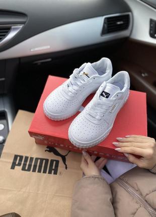 Puma cali white шикарные женские кроссовки  пума кали белые3 фото