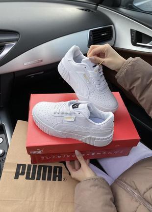 Puma cali white шикарные женские кроссовки  пума кали белые2 фото