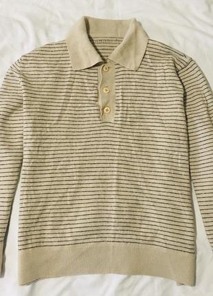 Полосатый шерстяной свитер поло кофта в полоску шерсть тёплый зимний воротник вовна