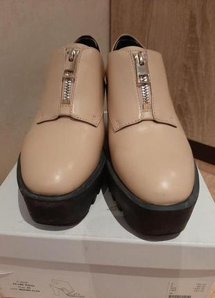 Кожанные туфли на платформе