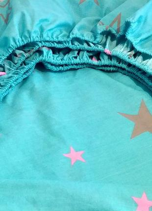 Двуспальная простынь на резинке из бязи gold - звезды, все размеры, быстрая отправка