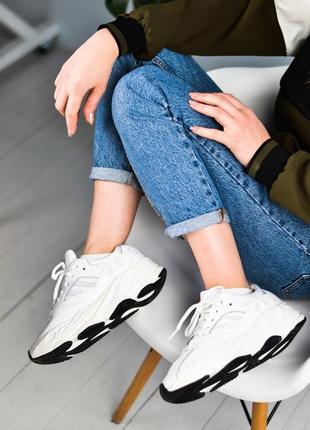 Adidas yeezy boost 700 white шикарные женские кроссовки белые