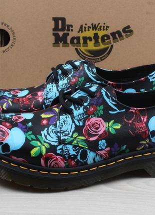 Женские кожаные туфли с цветами и черепами dr. martens 1461 оригинал, размер 39