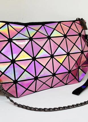 Клатч на цепочке glam queen bright pink