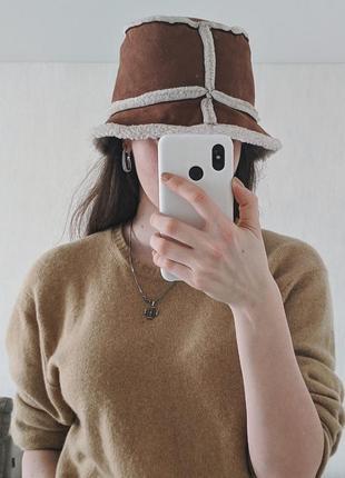 Меховая панамка на овчине коричневая шапка на межу