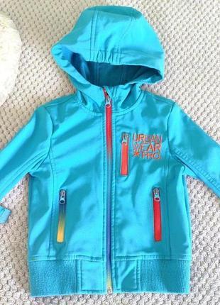 Куртка софтшелл деми голубая 92-98 на 2-3 года для мальчика