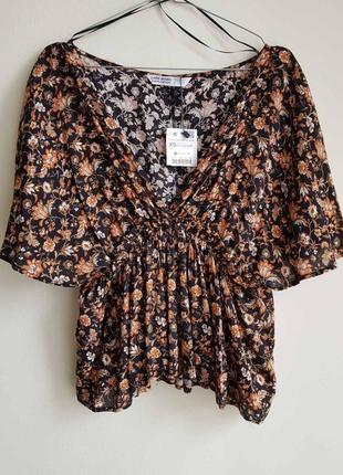 Блузка-топ в квітковий принт zara p. xs