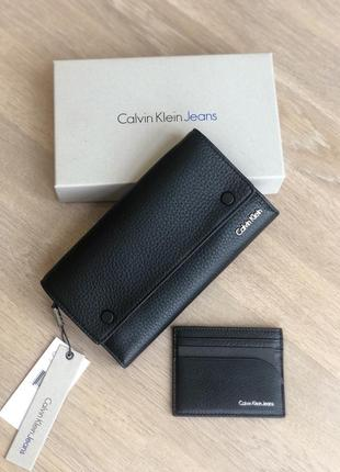 Calvin klein кошелёк, барсетка, в комплекте с кардхолдером. кожа