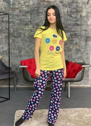 Пижама женская хлопок домашний костюм турция