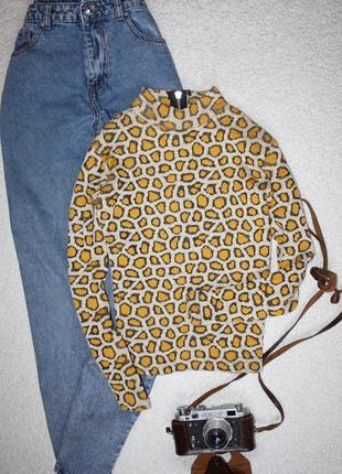Кофта в леопардовый принт. теплый гольф с замочком на шее