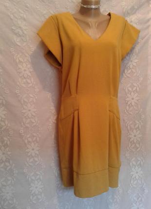 Платье с молнией,горчичного цвета