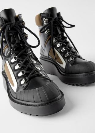 Супер ботинки zara кожа