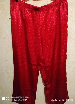 Штаны пижамные,брюки домашние атласные,большой размер.