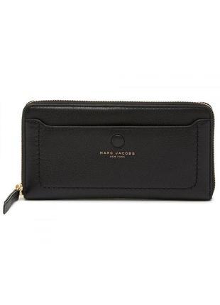 Кошелек marc jacobs vertical zip around wallet black кожа оригинал