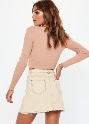 Cтильная кремовая юбка с контрастной строчкой missguided ms419