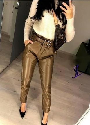 Красивые штаны из экокожи