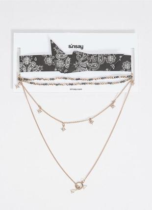 Комплект - багатошарове намисто і чокер, sinsay, польща / цепочка