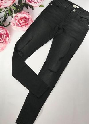 Чёрные джинсы рваные h&m s