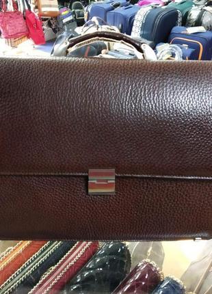 Портфель кожаный мужской классический коричневый