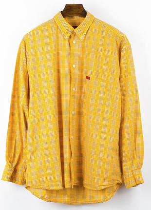 Мужская рубашка в клетку, яркая мужская рубашка клетчатая, рубашка в крупную клетку