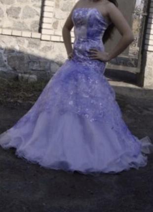 Выпусконое вечернее длинное фиолетовое, лиловое платье в пол блестками s m