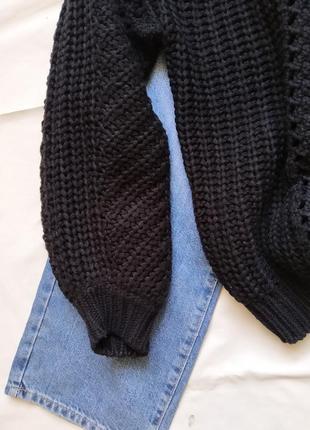 Базовый свитер pieces с объемными рукавами. красивая вязка5 фото
