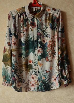 Блуза рубашка в цветочный принт h&m