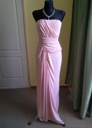 Платье вечернее длинное розовое