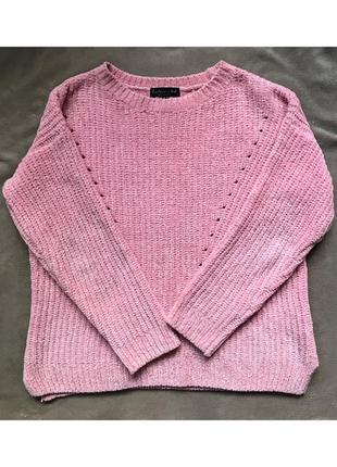 Розовый тёплый велюровый свитер