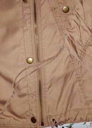 🎁1+1=3 стильная бежевая ветровка куртка парка косуха оверсайз next, размер 46 - 484 фото