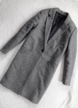 Пальто бойфренд в клетку/гусиную лапку с карманами