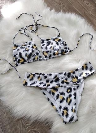 Крутой модный леопардовый купальник бикини сексуальный принт леопард