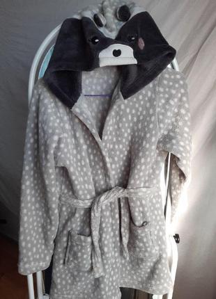 Мягкая детская пижама-халат с енотом