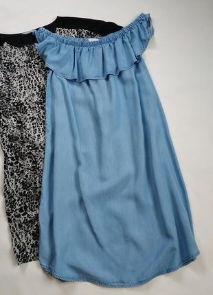 Джинсовый сарафан платье с открытыми плечами