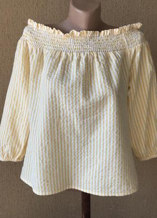 Блуза топ в полоску на плечах с бантом-завязкой