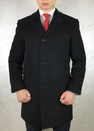 Черное шерстяное пальто greenwoods elite cashmere blend pure luxury кашемир