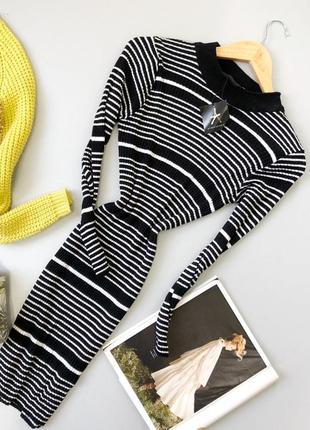 Платье резинка в рубчик в полоску миди вязаное atmosphere